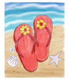 Summer flip flops in the sand on the beach. Summer flip flops on the sand on the beach. Watercolor doodle style vector illustration Stock Photography