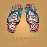Summer, flip flops, sand Royalty Free Stock Photography
