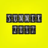 Summer 2017 flip symbol. Vector scoreboard illustration. Black and white sign on yellow background. Summer 2017 flip symbol. Vector scoreboard illustration Stock Images