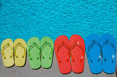 Summer Flipflops. Colored flipflops of a family of four by the swimming pool royalty free stock photography