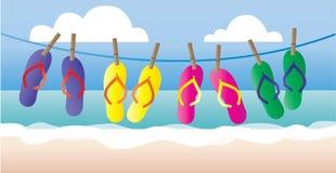 Summer flipflops vacation beach header or banner Stock Images