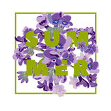 Summer floral background with beautiful lavender flowers on white background. Multicoloured typography greeting card Stock Images