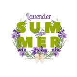 Summer floral background with beautiful lavender flowers on white background. Multicoloured typography greeting card Royalty Free Stock Photos