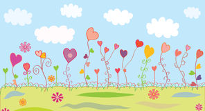 Summer floral background with hearts Royalty Free Stock Photo