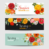 Summer Floral Banners and Tags Set - Watercolor Flowers. In vector Stock Photo