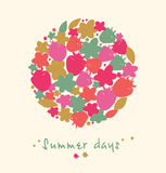 Summer floral elements, berries, flowers, leafs. Nature banner. Decorative picnic set Royalty Free Stock Images