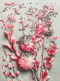 Summer floral flat lay composition made with colorful pastel garden flowers, petals and leaves on desktop royalty free stock photo