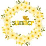 Summer floral frame with butterfly. Vector illustration Royalty Free Stock Images