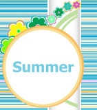 Summer floral invitation card. summer holiday, flowers and abstract lines set Stock Photo