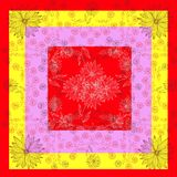 Summer floral lace. Bright bandana print or silk neck scarf. Royalty Free Stock Image