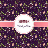Summer floral pattern. With green branch and flowers Royalty Free Stock Photo