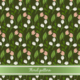 Summer floral pattern. With green branch and flowers Stock Photos