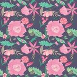 Summer Floral Pattern on Indigo Background Royalty Free Stock Image
