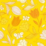 Summer floral pattern. Vector seamless pattern with flowers and butterflies.  You can use it for packaging design, textile design and scrapbooking Royalty Free Stock Photo