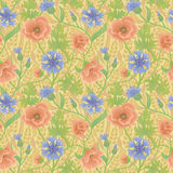 Summer floral pattern with wheat and leaves on yellow background Royalty Free Stock Photo