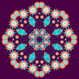 Summer floral round ornament on a violet background Royalty Free Stock Photo