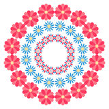 Summer floral round ornament on a white background Royalty Free Stock Photo