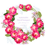Summer floral round wreath frame card. Vintage bouquet beauty Vector Stock Image