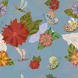 Summer floral seamless pattern. Floral background with butterflies, dragonflies.Seamless pattern royalty free illustration