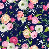Summer Floral Seamless Pattern with Pink Flowers and Lily. Botanical Background for Fabric Textile, Wallpaper, Wrapping. Paper and Decor. Vector illustration Royalty Free Stock Photo