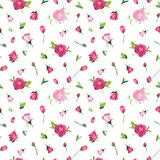 Summer Floral Seamless Pattern with Pink Roses. Botanical Background with Flowers for Fabric Textile, Wallpaper Stock Photo