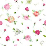 Summer Floral Seamless Pattern with Pink Roses and Lily Valley. Botanical Background with Flowers for Fabric Textile. Wallpaper, Wrapping Paper and Decor Stock Photo