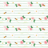 Summer floral seamless pattern. Roses, chamomiles, flying bees on stripped green background. Vector vector illustration