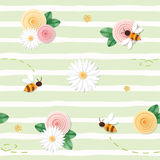 Summer floral seamless pattern. Roses, chamomiles, flying bees on stripped. Green background. vector royalty free illustration