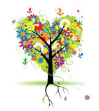 Summer floral tree, heart shape Royalty Free Stock Photo
