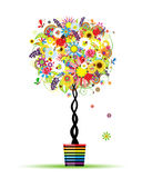 Summer floral tree in pot for your design Stock Image