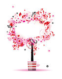 Summer floral tree in pot for your design stock illustration