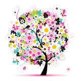Summer floral tree for your design Stock Images
