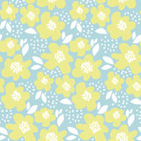 Summer floral vector illustration in retro 60s style. Stock Photo