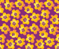 Summer floral vector illustration in retro 60s style. Stock Photography