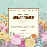 Summer floral vintage vector background.
