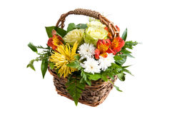 Summer flower basket. Basket full of summer flowers white isolated Royalty Free Stock Photo