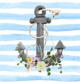 Flower and rope on anchor Royalty Free Stock Images