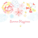 Summer flower card with a butterfly Stock Photography