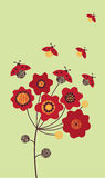 Summer flower and ladybird. Vector illustration Royalty Free Stock Photography