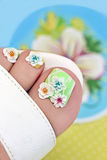Summer flower pedicure. Stock Image