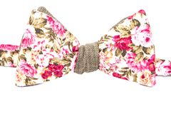 Summer flower print bow tie isolated. On white background Royalty Free Stock Image