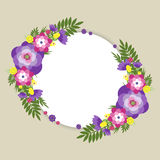 Summer flower round. Template for text with floral decoration on a beige background Royalty Free Stock Photos