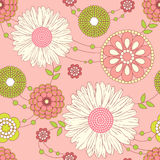 Summer Flowers. Summer Vector Seamless Background with Flowers Stock Photo