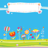 Summer Flowers Background. Colorful background with stylized flowers, created in a fun, whimsical style Stock Images