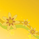 Summer Flowers Background. Graphic illustration of sunny summer flowers against a bright yellow background with colored swoops Stock Images