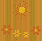 Summer Flowers Background. Graphic illustration of retro colored stripes with abstract flowers and sun Stock Photography