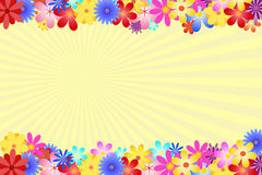Summer flowers background. Diverse and multicolored flowers bordering the top and bottom of the vector. The background is formed by yellow rays of the sun Royalty Free Stock Photography