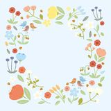 Summer flowers background. Illustration with flowers collection isolated on white background Royalty Free Stock Photos