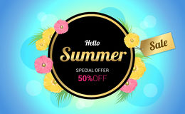 Summer Flowers Background or Summer floral Design on blue backgr. Summer Flowers frame Background or Summer floral Design on blue background Stock Photos
