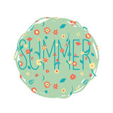 Summer flowers banner. With a text stock illustration
